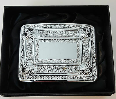 Clearance offer Chrome 4 Dome Celtic Kilt Belt Buckle Gift boxed half price