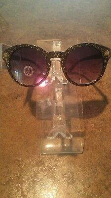 d63161051b NEW Womens Juicy Couture Round Sunglasses Gold Glitter Black Frame Black  Lens