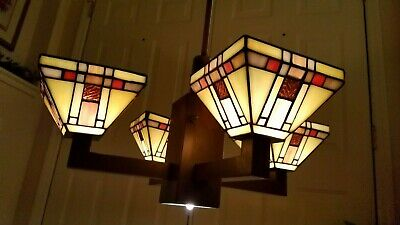 Vintage Set Stained Glass Chandelier & Ceiling Light Set Retro Rustic