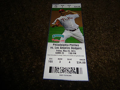 PHILLIES 2014 TICKET STUB VS DODGERS 5/23/14~Erisbel Arruebarrena MLB DEBUT