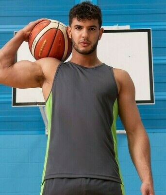 AWDis Just Cool Contrast Vest Gym Vest Wickable Breathable Sports Running JC008