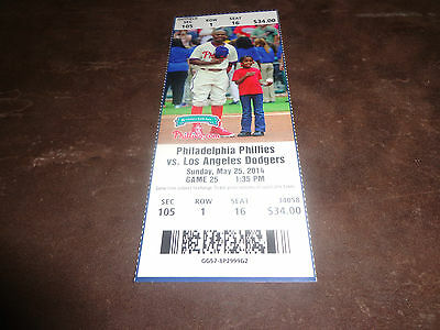 PHILLIES 2014 TICKET STUB VS DODGERS 5/25/14 Josh Beckett 1ST MLB NO HITTER MINT