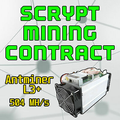 ŁɃ💲✅⚡️ 24 Hours Mining Contract - 504 MH/s antMiner L3+ Bitmain Litecoin LTC