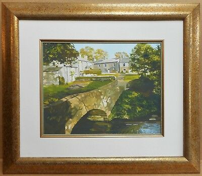 Brokken Bridge, Clapham. Gouache by listed Yorkshire artist Maureen Moore c1990