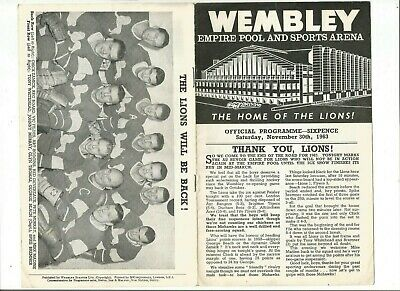 Wembley Lions Ice Hockey programme v Paisley Mohawks November 30th 1963