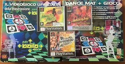 PS1 PS2 Tappetini 2 DANCE MAT + 3 giochi Dancing Stage (Party/Fusion/Fever) rari