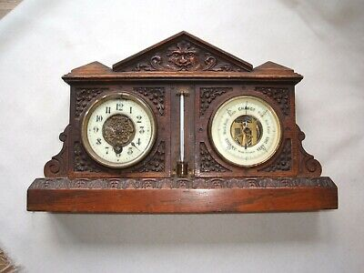Antique  Carved Oak Clock  Barometer for Restoration