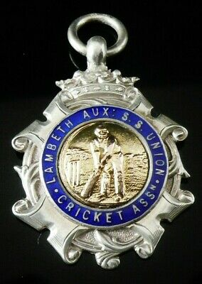 Silver Enamel Gold Pocket Watch Fob Medal, FATTORINI 1922, CRICKET