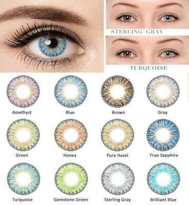 1 Pair Colored Cosmetic Contact Lenses 0 Degree Yearly Use Party Makeup Eyewear