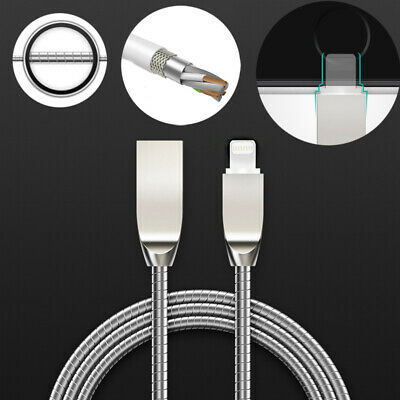 Steel Metal Braided USB Cable Heavy Duty Charger Lead for iPhone XS Max, XS, XR