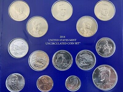 2014 United States Mint Uncirculated 14 Coin Set Philadelphia Dollars-Quarters