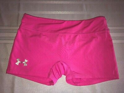 Under Armour Girls YLG Youth Large Solid Pink Fitted Athletic Shorts