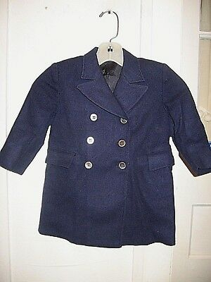 Vintage Childs 1940-50 Navy Blue Wool Dress Overcoat-Grow A Year By Trim Set