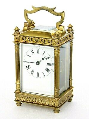 Antique French Gilt Brass Carriage Clock & Fitted Case Rare Boite Chinoise Shape