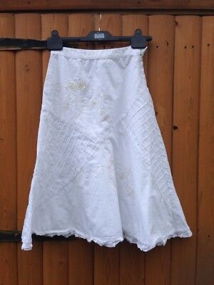 Girls Next White Skirt Cotton Beads Pink Sequins Frill Crochet 7 Y Free Post!