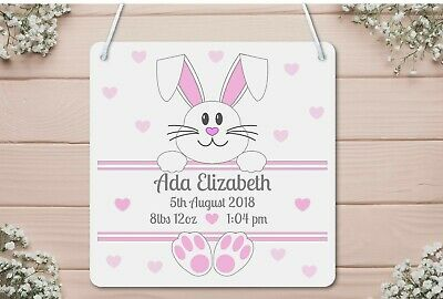 New Baby Plaque, Girl, Boy, Christening, Birth, Gift, Wall Sign, Bunny Rabbit