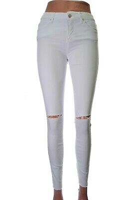 Skinny Jeans Stretch Size 8 Ripped White Raw Hem Ankle Topshop Leigh W26 L34