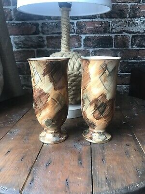"Rare Art Deco Hand Painted ""J Fryer"" Old Courtware Lustre Ware Pair of vases"