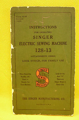 VINTAGE SINGER SEWING MACHINE BOOKLET-1939-Small Paperback-36 Pages-3 X 5.5