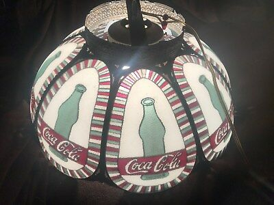 """Rare Coca Cola Hanging Ceiling Swag Lamp Scalloped Shade Faux Stained Glass 18"""""""