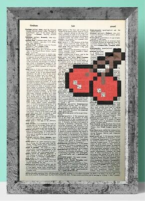PAC-MAN Cherry retro art dictionary page art print vintage gift antique book E62