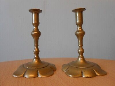PAIR OF ANTIQUE EARLY VICTORIAN BRASS MINIATURE CANDLESTICKS,GEO.II STYLE c1850