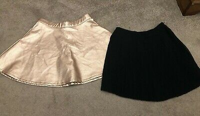 New Look Rose Gold Metallic Faux Leather Flare  & Black Pleat Skirts 11 Years