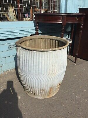 VINTAGE GALVANISED WASHING DOLLY TUB Peggy Planter Plant Pot Industrial