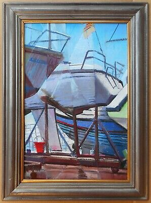 Boat Yard. Original Pastel by listed artist Christopher Assheton-Stones PS 1995