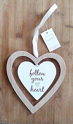 HAND MADE Wooden Hanging Heart Shabby Chic Door Wall Plaque Inspirational GIFT