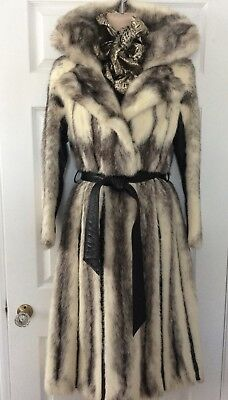 $5000 **STUNNING** BLACK CROSS MINK FUR LEATHER LONG COAT sz S M SMALL MEDIUM