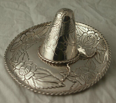 Large Vintage Solid Silver Mexican Hat Ring Dish - 105g.