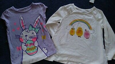 166a8b0a1 NWT Lot of 2 Easter Shirts 4T Childrens Place Jumping Beans Purple Bunny  Chicks