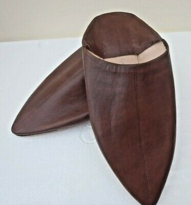 Unisex Moroccan Leather Pointed Backless Mules / Slippers * Brown * All Sizes