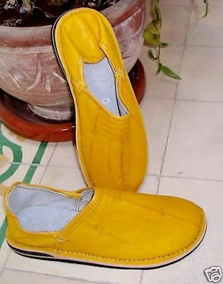 MOROCCAN LEATHER BABOUCHE Slippers YELLOW  ALL SIZES