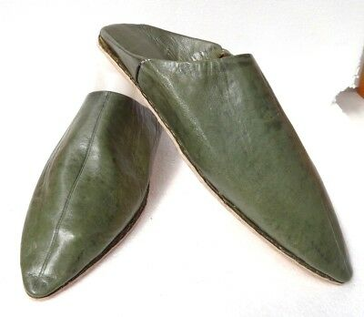 Unisex Moroccan Leather Pointed Backless Mules / Slippers * Green * All Sizes