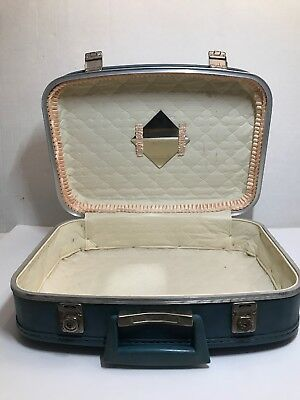 Vintage Makeup Cosmetic Travel Case Train Suitcase Luggage Light Blue Carry On