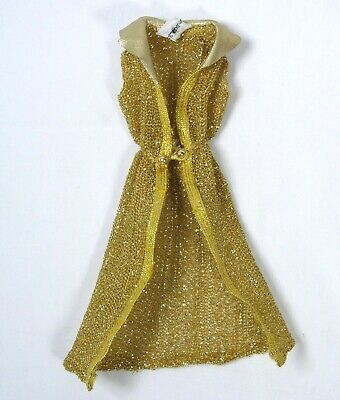 Mod Talking Barbie 1115 Gold Metallic Mesh Swim Cover Up HTF Original Outfit EUC