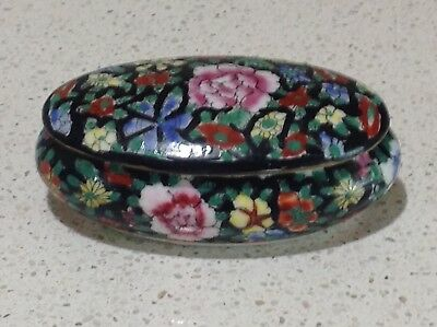 Chinese Floral Hand Painted Porcelain Trinket Box 3.74 inch