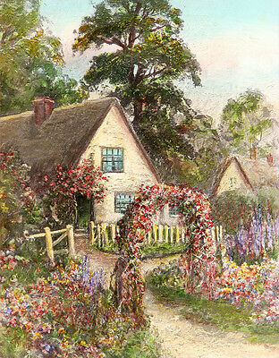 ANTIQUE & Rare Circa Early 1900's Hand Colored Print COTTAGE IN BLOOM, Gorgeous!