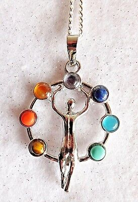 Chakra Balanceing Crystal Goddess Healing Reiki Blessed On Silver Plated Chain