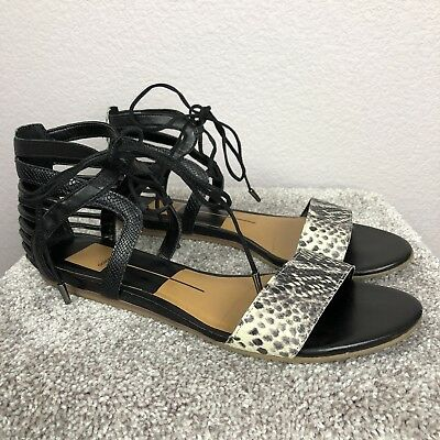 ca1d05a67d80 Dolce Vita Women s ASHTYN Gladiator Sandals Size 8 Black Snake Lace Up  Leather