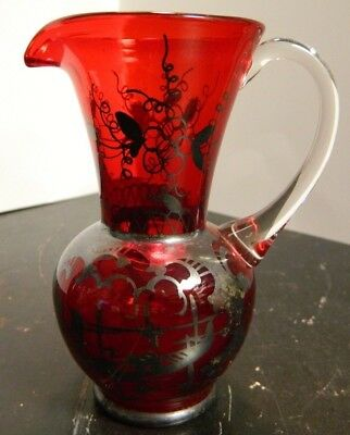 Vintage Hand Blown Sterling Silver Overlay Ruby Red Pitcher Applied Handle Excel