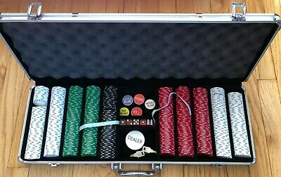 500Pc Chips Poker Dice Chip Set Texas Cards Game w/ Aluminum Carry/Storage Case