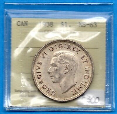 Canada 1938 $1 One Dollar Silver Coin - Trend $300 - ICCS MS-63