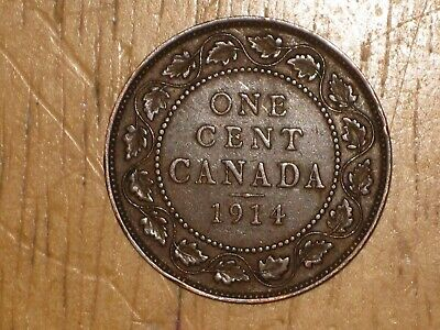 Canada 1914 Large Cent coin Very Fine nice