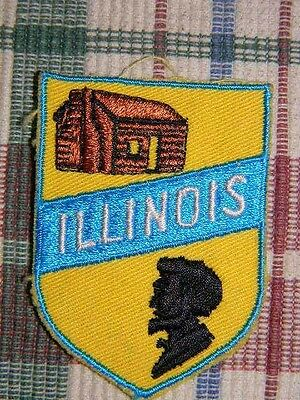 Illinois state patch-fabric with embroidered/stitched design-Lincoln & log cabin