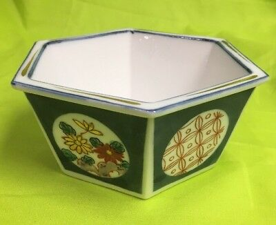 ANTIQUE Chinese Or Japanese Blue And White ENAMELED PORCELAIN SIX-SIDED BOWL