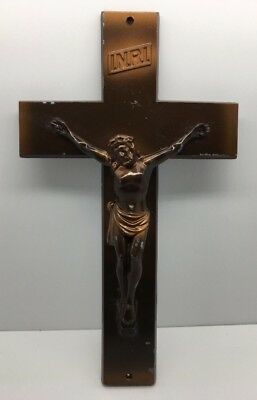 """12"""" Bronze Toned Pewter Or Other Metal Crucifix Cross Christ Crucified AS IS"""