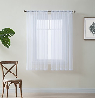 """HLC.ME White 54"""" inch x 63"""" inch Window Treatment Curtain Sheer Voile Panels for"""